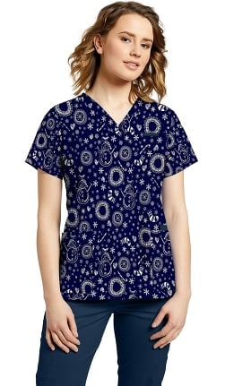 Marvella by White Cross Women's Joy Print Scrub Top