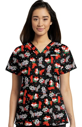 Allure by White Cross Women's V-Neck Fox Print Scrub Top