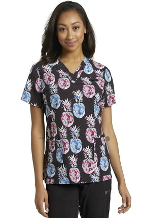 Allure by White Cross Women's Pineapple Canvas Print Scrub Top