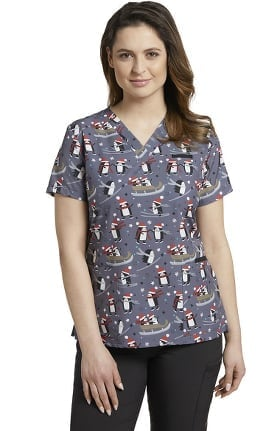 Clearance Allure by White Cross Women's V-Neck Penguin Sleigh Ride Print Scrub Top
