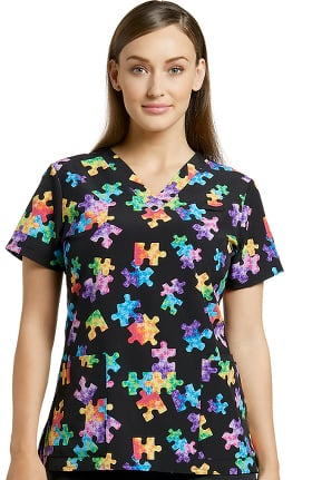 59d58757c0d Allure by White Cross Women's V-Neck Puzzle Print Scrub Top