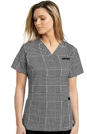 Allure by White Cross Women's V-Neck Houndstooth Print Scrub Top