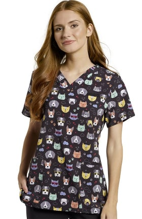 Allure by White Cross Women's Shaded Pets Print Scrub Top