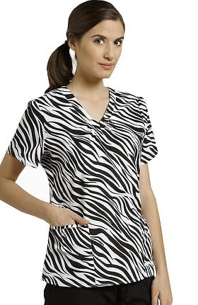 Clearance White Cross Women's Shirring V-Neck Animal Print Scrub Top