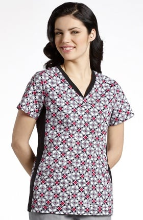 Clearance White Cross Women's Sport Knit Side Geometric Print Scrub Top