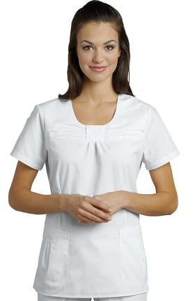 Marvella by White Cross Women's Jewel Neck Pleat Solid Scrub Top