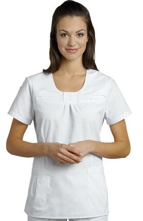 White Cross Women's Jewel Neck Pleat Solid Scrub Top