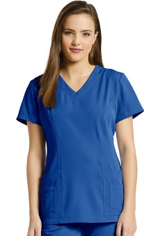 Marvella by White Cross Women's Shaped V-Neck Solid Scrub Top with Pockets