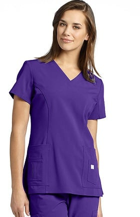 Clearance Marvella by White Cross Women's Shaped V-Neck Solid Scrub Top with Pockets