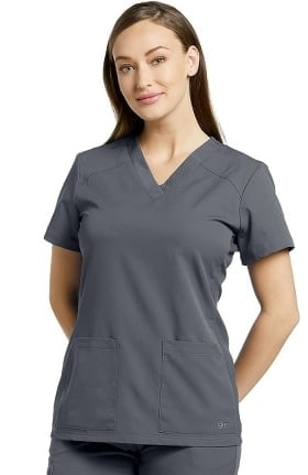 Fit by White Cross Women's V-Neck Soft Texture Solid Scrub Top
