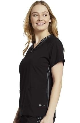 Fit by White Cross Women's V-Neck Retro Side Stitch Solid Scrub Top