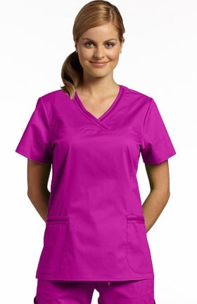 Clearance Allure by White Cross Women's Curved V-Neck Solid Scrub Top with Pockets