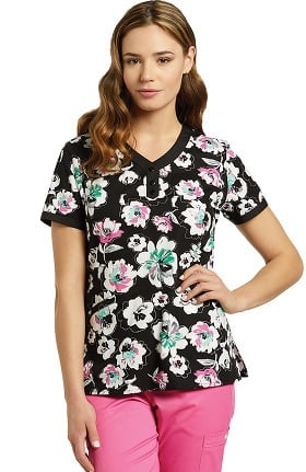 White Cross Women's V-Neck Floral Print Scrub Top
