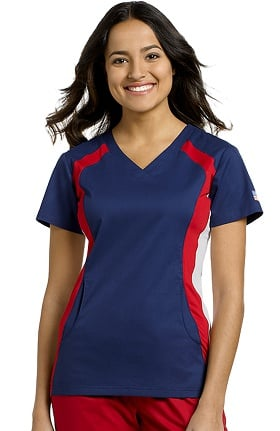 Clearance Allure by White Cross Women's USA V-Neck Contrast Stretch Side Panel Solid Scrub Top