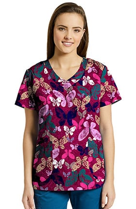 Allure by White Cross Women's V-Neck Butterfly Print Scrub Top