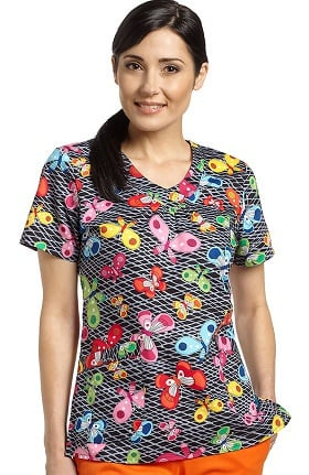 Clearance Allure by White Cross Women's V-Neck Butterfly Print Scrub Top
