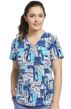 Allure by White Cross Women's V-Neck Geometric Print Scrub Top