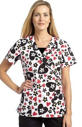 Clearance Marvella by White Cross Women's Mock Wrap Heart Print Scrub Top