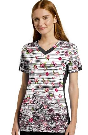 Fit by White Cross Women's Urban Bouquet Print Scrub Top