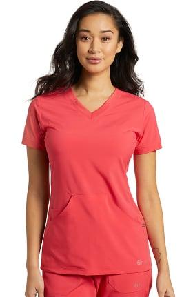 Fit by White Cross Women's V-Neck Kangaroo Pocket Solid Scrub Top