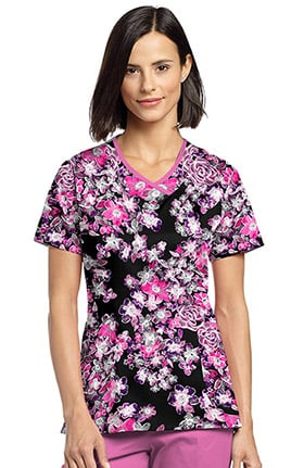 Allure by White Cross Women's Curved V-Neck Floral Print Top