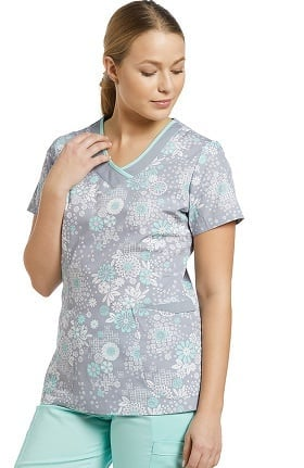 Allure by White Cross Women's Curved V-Neck Floral Print Scrub Top