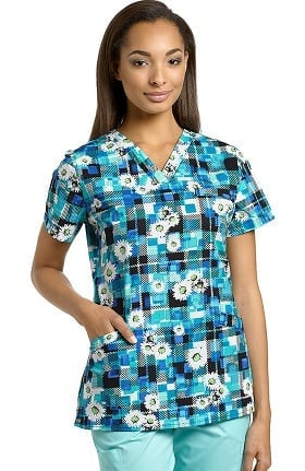 Clearance Allure by White Cross Women's Crossover V-Neck Floral Print Scrub Top