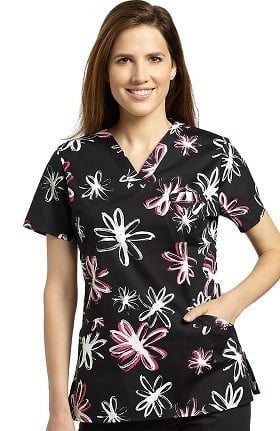 Clearance Allure by White Cross Women's V-Neck Floral Print Scrub Top