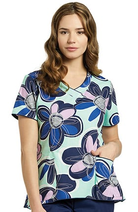 White Cross Women's Curved Bottom V-Neck Floral Print Scrub Top