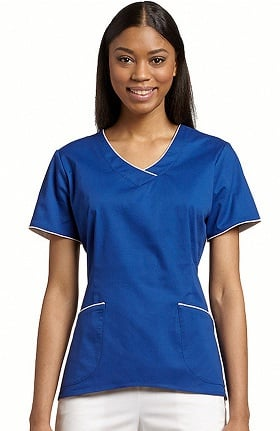 Clearance Allure by White Cross Women's Hi Low Color Trim V-Neck Scrub Top