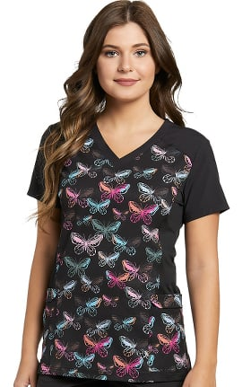 Clearance Fit by White Cross Women's V-Neck Butterfly Print Scrub Top