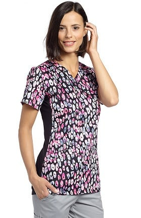 White Cross Women's Mock Wrap Animal Print Scrub Top