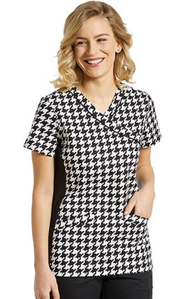 Allure by White Cross Women's Mock Wrap Geometric Print Scrub Top
