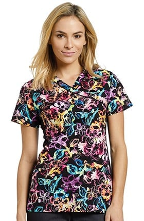 Allure by White Cross Women's Notch Neck Abstract Print Scrub Top