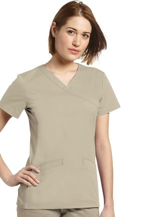 Clearance Allure by White Cross Women's Mock Wrap Knit Side Panel Solid Scrub Top