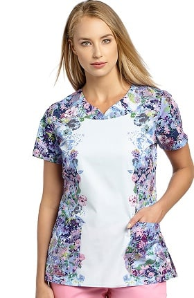 Allure by White Cross Women's Notch Neck Floral Print Scrub Top