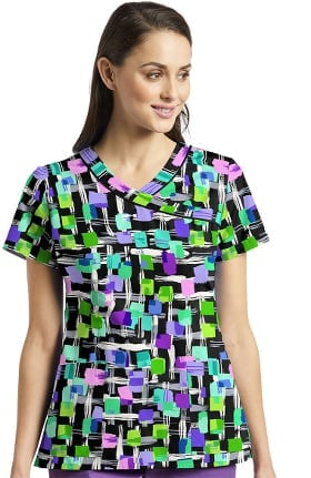 Fit by White Cross Women's Mock Wrap Geometric Print Scrub Top