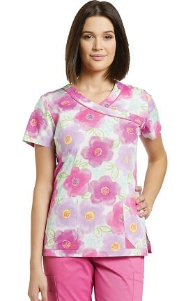 Allure by White Cross Women's Mock Wrap Floral Print Scrub Top