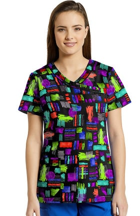 White Cross Women's Mock Wrap Geometric Print Scrub Top