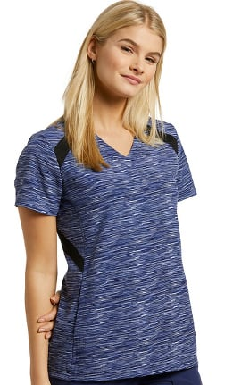 Fit by White Cross Women's V-Neck Space Dye Print Scrub Top