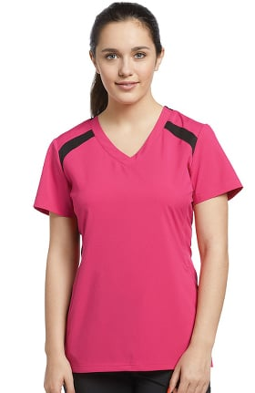 Clearance Fit by White Cross Women's V-Neck Mesh Contrast Solid Scrub Top