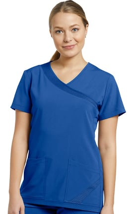 Fit by White Cross Women's Mock Wrap Solid Scrub Top