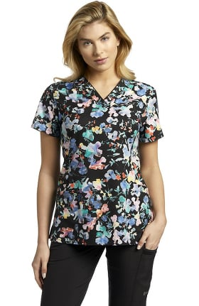 Clearance Marvella by White Cross Women's V-Neck Botanic Mirage Print Scrub Top