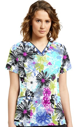 Allure by White Cross Women's V-Neck Floral Print Scrub Top