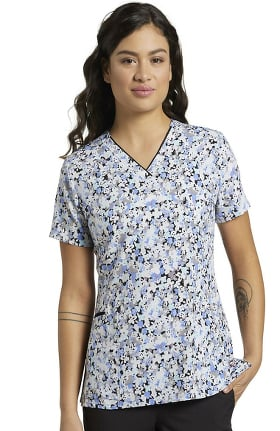 Marvella by White Cross Women's Daisy Blue Print Scrub Top
