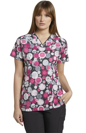 Clearance Marvella by White Cross Women's V-Neck Print Scrub Dots To Circles Top
