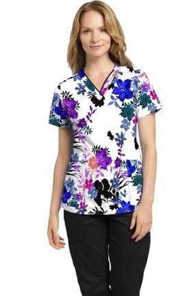 Marvella by White Cross Women's Fabulous Fern Floral Print Scrub Top