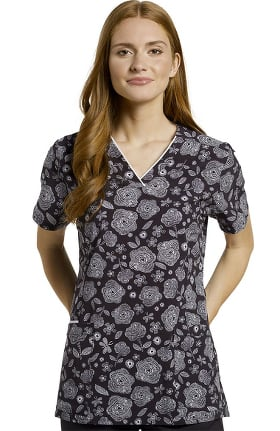 Clearance Marvella by White Cross Women's Floral Sketch Print Scrub Top