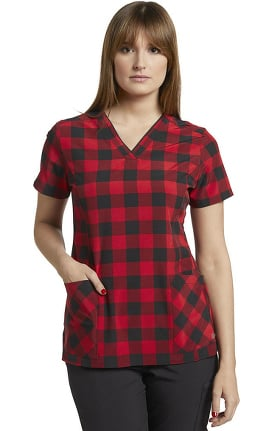 Clearance Marvella by White Cross Women's V-Neck Red Buffalo Plaid Print Scrub Top