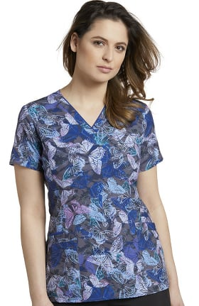 Clearance Marvella by White Cross Women's V-Neck Sapphire Flutter Print Scrub Top